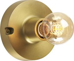 best in brass.  Inspired by vintage light fixtures, sculptural round of brass-plated aluminum gleams a refined industrial glow with brilliantly exposed bulb.  Illuminate a modern mix of metallics overhead or on the wall with our silver-tipped bulb.