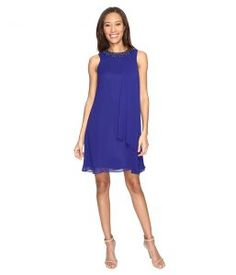 Vince Camuto Short Chiffon Dress with Side Pleat (Royal) Women's Dress