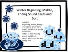 Great for your literacy center! This packet focuses on the skill of filling in the missing beginning, middle, and ending sounds of words. The word cards consist of igloos, winter hats, and snowflakes to engage the students! Winter hats with short vowels are included for sorting by short vowel sound.