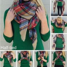 20 Ways To Wear A Blanket Scarf Blanket Scarf Outfit, How To Wear A Blanket Scarf, Ways To Wear A Scarf, How To Wear Scarves, Plaid Scarf, Wearing Scarves, Outfit Zusammenstellen, Outfit Ideas, Denim Fashion
