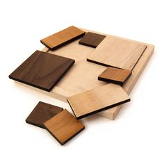 wooden toy geometric puzzle, square kids toy. $30,00, via Etsy.