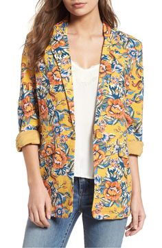 Free shipping and returns on BP. Cinch Sleeve Linen Blend Blazer at Nordstrom.com. A bold floral print adds springtime charm to this linen-blend blazer styled with jauntily rolled-up sleeves.