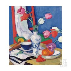 Red Chair and Tulips, c.1919 Giclee Print by Samuel John Peploe at Art.com