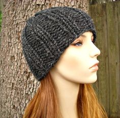 Knit Hat Womens Hat  Ribbed Boyfriend Beanie in by pixiebell