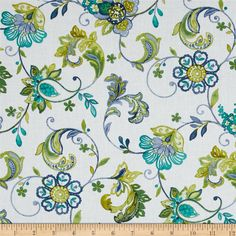 Aria Floral Vine White/Blue from @fabricdotcom  Designed by Dover Hill for Benartex, this cotton print fabric is perfect for quilting, apparel and home decor accents. Colors include white, shades of blue, and shades of green.