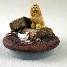 """Conversation Concepts Miniature Poodle Apricot Candle Topper Tiny One """"A Day on the Farm"""""""