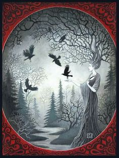 """""""The Goddess Macha and the Unkindness of Ravens"""" by Emily Balivet. Acrylic on canvas, 2015."""
