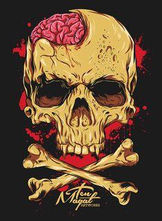 Right Side Brain - Ten Magat by Timothy Magat, via Behance Illustration Main, Skull Illustration, Wallpaper Caveira, Images Graffiti, Arte Ninja, Totenkopf Tattoos, Album Cover, Skeleton Art, Skull Art