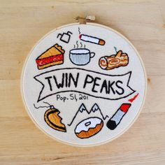 Twin Peaks Embroidered Wall Hanging Hoop by RabbitHeartDesigns