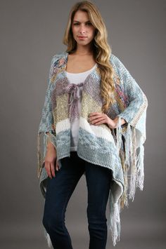 The Nomad Blanket Sweater in Ocean by Indah at CoutureCandy.com