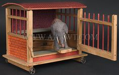 Antique Squeak Toy, Elephant in Wagon, Painted, 19th Century, angle view