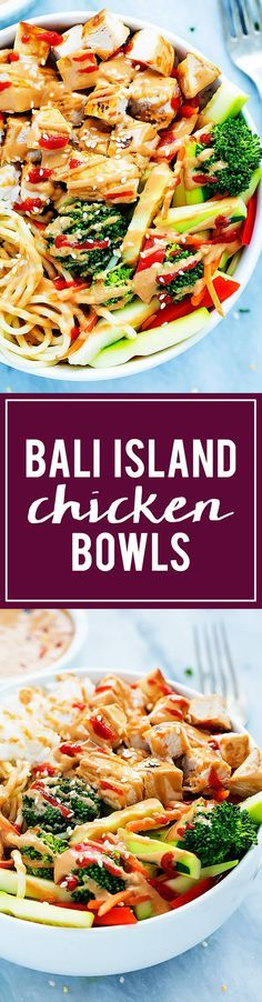 Bali Island Chicken Rice Bowls with steamed veggies and a light, creamy peanut sauce! | Creme de la Crumb