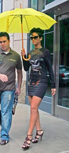 Pin for Later: A Tribute to Rihanna's Killer Street Style on Her 28th Birthday  Rihanna monkeyed around NYC in a gorilla-print minidress and cutout oxblood sandals in June 2009.