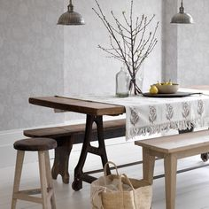 Rustic dining table and bench http://www.housetohome.co.uk/room-idea/picture/how-to-decorate-with-neutrals