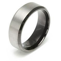 Men's Titanium Two-Tone Black & Gun Metal Wedding Band Ring