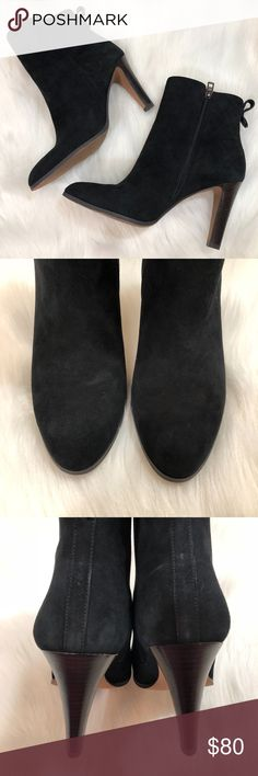 """Coach JEMMA Ankle Boots Black Suede, Size 10 These shoes are in gorgeous condition with very minimal wear. The suede is in good condition and the soles are moderately scuffed. There is some wear along the toe side area as shown in photos.  Side zipper closure Women's size 10 Coach brand Style name Jemma  Heel height is approx. 3.75""""  No box. No trades. No modeling. Reasonable offers are always welcome! Thank you Coach Shoes Ankle Boots & Booties"""