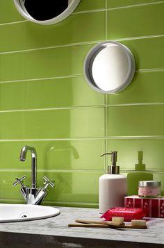 Glazed white bodied porous single-fired tiles, Progetto L14 collection designed by Gianluca Soddu, kiwi - Lea Ceramiche
