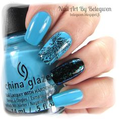 Nail Art by Belegwen: China Glaze Capacity To See Beyond, A England Camelot & Nfu Oh 054.