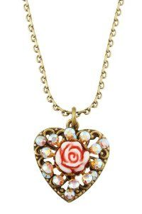 Michal Negrin Victorian Style Heart Pendant Garnished with Vintage Rose in Center, Surrounded by Aurora Borealis Swarovski Crystals,$58.00