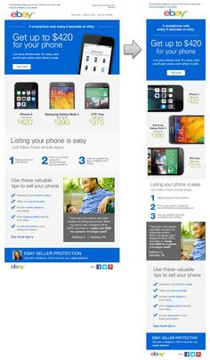 Excellent Responsive Email Design from ebay. I especially like how they rearrange the phones on the mobile version. #Responsiveemaildesign