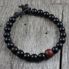 Mens Mala Bracelet Leather Natural Ebony by SolCreationsJewelry, $20.50