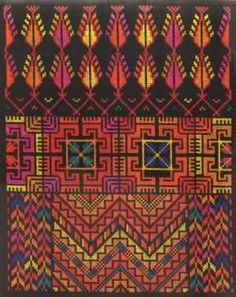Palestine: embroidery example, likely from a woman's dress. Palestinian Embroidery, Hungarian Embroidery, Diy Embroidery, Cross Stitch Embroidery, Embroidery Patterns, Sewing Patterns, Cross Stitch Needles, Chain Stitch, Cross Stitch Designs