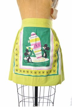 RESERVED   1950s apron / Tipsy Mice novelty by teastreetvintage