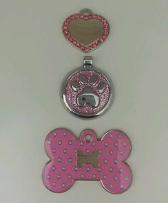 Designer pink collection! Beautiful Pet dog ID tags $16.50 Free Engraving & free shipping