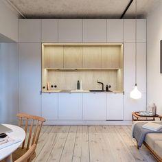"""@marito_pl's Instagram post: """"Mieszkanie na Warszawskiej Starówce😊 Jak Wam się podoba ta realizacja? 🥰 Wykonaliśmy kuchnię z podświetleniem led, zabudowę łóżka oraz…"""" Divider, Led, Room, House, Furniture, Home Decor, Instagram, Bedroom, Decoration Home"""