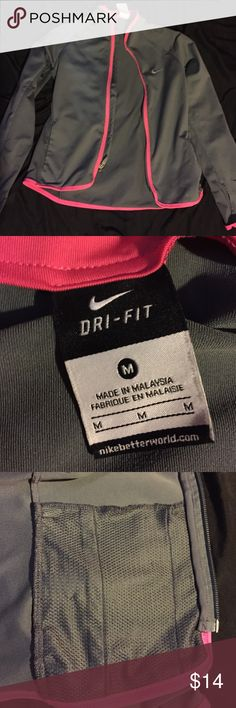 Jacket Grey jacket with pink lining. Very comfy and barely worn. Nike Jackets & Coats