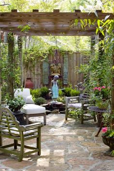 charming arbor and seating area