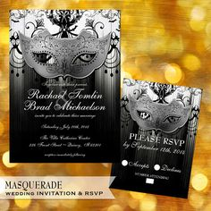elegant mardi gras scroll in a box (set of 25), masquerade ball, Wedding invitations