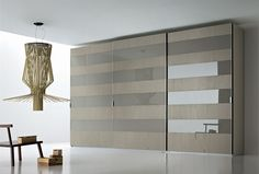 SMA Mobili Spa Pl@y Contemporary Sector Sliding Wardrobe in Lacquered Glass