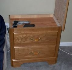 Nightstand with secret compartment (inspiration only) Not just for guns, but for valuables possibly...