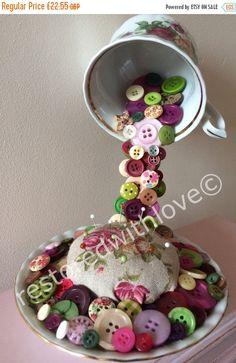 SALE Floating mixed media china tea cup - flowing colourful buttons - pin cushion - floral teacup - shop decor home decor - sewing gift - te