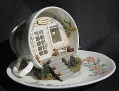 miniature dollhouse fairy garden ~ white pumpkin fairy house ~ new Miniature Crafts, Miniature Dolls, Miniature Houses, Miniature Tutorials, Teacup Crafts, Fairy Doors, Mini Things, Cute Diys, Fairy Houses
