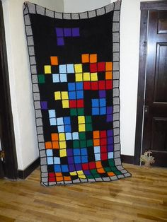 Tetris Pixel Crochet Blanket by MugWumpus, via Flickr.        The odd square here and there #redheartreflective