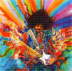 Jimi Hendrix Blotter Art music art painting guitar trippy rock psychedelic legend jimi hendrix