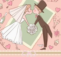 Lovely Cartoon Bride and Groom Vector Illustration 02
