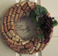 "Medium 13"" Handmade Wine Cork Wreath, With Grapes #Handmade"