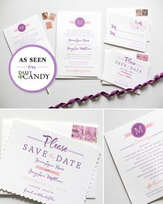 These gorgeous Modern Monogram do it yourself printable wedding invitations include response card, save the date and programs for guests.