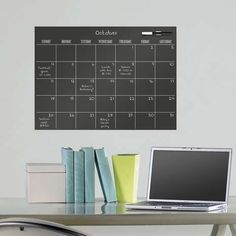 WallPops Dry Erase Monthly Calendar Decal Image 1 of 4 Dry Erase Wall Calendar, Calendar Wall, Chalkboard Calendar, Wall Calendars, Family Calendar, Black Chalkboard, Wall Stickers, Wall Decals, First Apartment Essentials