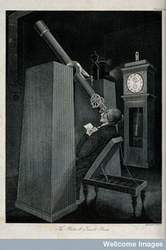 """The Hartwell transit room. An astronomer is observing the transit of Venus with a transit telescope, a type of instrument that used to be very common in astronomy; by measuring precisely the time (notice the prominent clock) a star or planet passes the meridian (south), the object's celestial """"longitude"""", called right ascension, is measured."""
