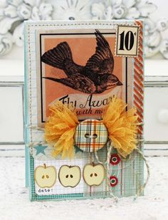 Flyaway_meliphillips1 / gather tulle in the middle and tuck under a button, die-cut, etc....like