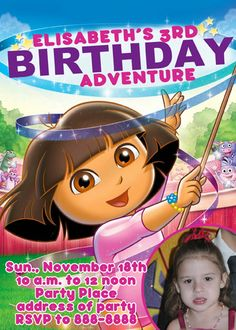 Dora the Explorer Gymnastics Invitation Digital File 4X6 or 5X7. $5.00, via Etsy.