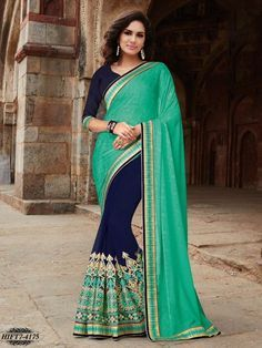 Image result for green and blue saree
