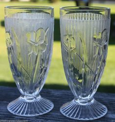 """Jeannette  Iris & Herringbone Glass  Set of 2 Ice Tea 6"""" Footed Glasses  http://stores.ebay.com/Pittsburghs-e-Consignment"""