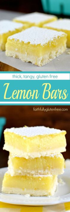 Lemon Bars (the Way Lemon Bars Should Be) Thick, Tangy Gluten Free Lemon Bars - just the way lemon bars are supposed to be!Thick, Tangy Gluten Free Lemon Bars - just the way lemon bars are supposed to be! Gluten Free Deserts, Gluten Free Sweets, Gluten Free Cakes, Foods With Gluten, Gluten Free Cooking, Dairy Free Recipes, Easy Recipes, Gf Recipes, Cooking Food