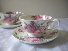 Fine china coffee cups tea cups and saucers pink roses