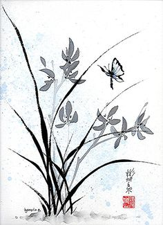 """""""Delicate Embrace"""" Spontaneous (Xie Yi) style Chinese brush painting on rice paper by bgsearle."""